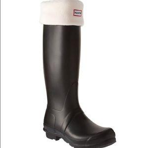 Hunter Original Tall Fleece Welly Boot Socks-Cream